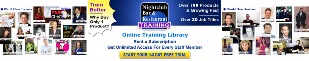 Excellence with online training library for nightclub, bar and restaurant industry