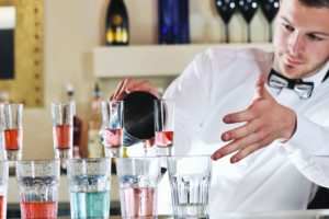 Bartender pouring technique Shooters